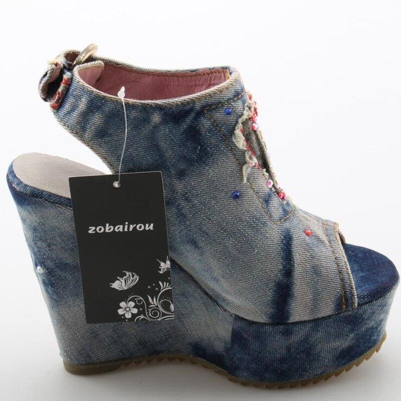 Desinger sapatos de verão salto alto mules aberto dedo do pé denim azul jeans sandálias marca luxo mulher cunhas peep toe cowboy tornozelo botas - 5
