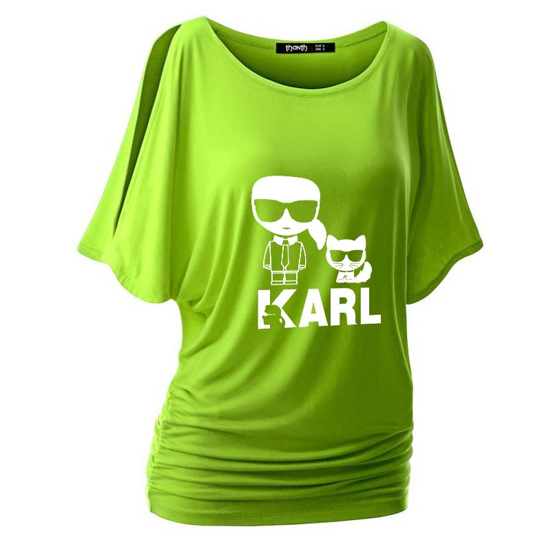Off Shoulder Tee Tops 2019 Summer Fashion Sexy T-Shirt Women Kawaii Karl Lagerfeld Printed Plus Size Tshirt Tee Shirts Femme 5XL