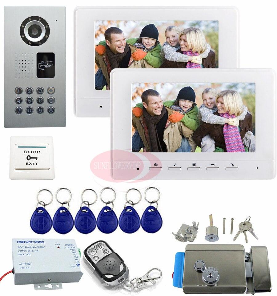 Intercom System For Home 7inch Color Video Intercom With Electric Lock Doorbell Intercom IP65 waterproof intercom 2 monitor