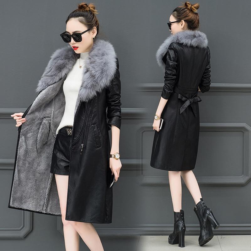 Women's Leather Jacket For Winter 2019 New Plus Velvet Warm Slim Big Fur Collar Long Leather Coat Female Outerwear M-4XL