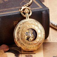 Vintage Golden Luminous Copper Mechanical Pocket Watch Men Women Double Sided Engraved Fob Chain Sculpture Retro Pocket Watches