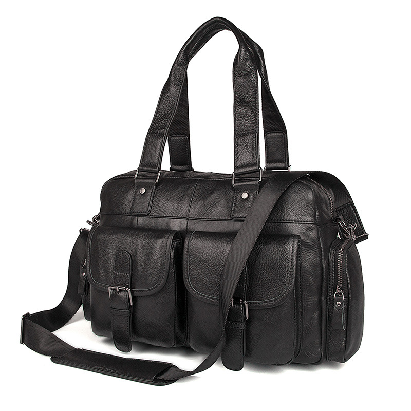 Nesitu Messenger-Bags Genuine-Leather Travel-Bags Large-Capacity Black Male Men M7381