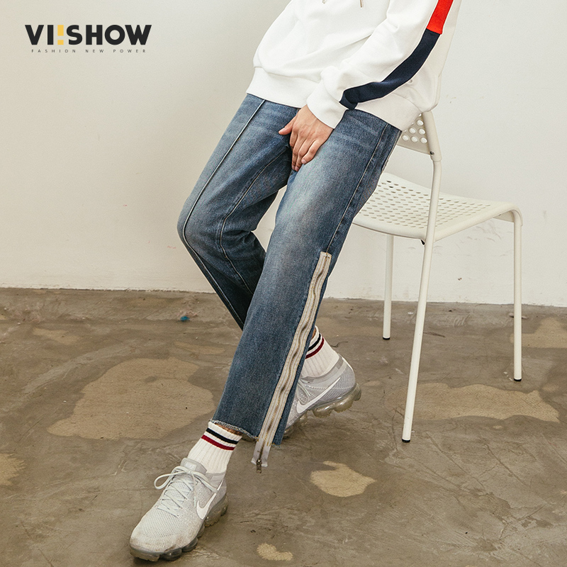 VIISHOW New Jeans Men Brand Clothing Solid Thin Pencil Denim Pants Male Top Quality Stretch Trousers Zipper Men-Jeans NB1126181