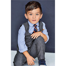 Kids Baby Boy's Cotton Shirt and Pants Waistcoat Tie 4PCS Suit Outfits Sets Clothes