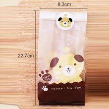 50pcs/Pack Lovely Plastic Biscuit Cookie Bag Baking Packs Sac Dog Cat Pattern Packaging for Cookies bag Free Shipping