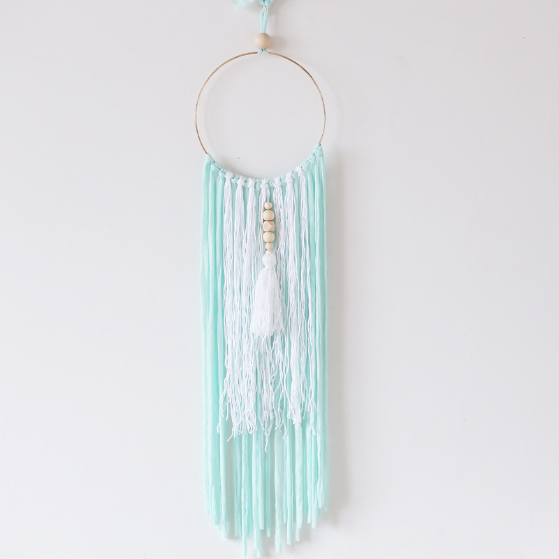Nordic Style Metal Ring Wooden Beads Tassel Dream Catcher Wall Hanging Ornaments Kids Room Decoration Girls Gifts Photo Props