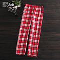 Plus size 100% brushed cotton women sleep bottoms ladies Hot sale spring and autumn Female plaid sleepwear trousers for women