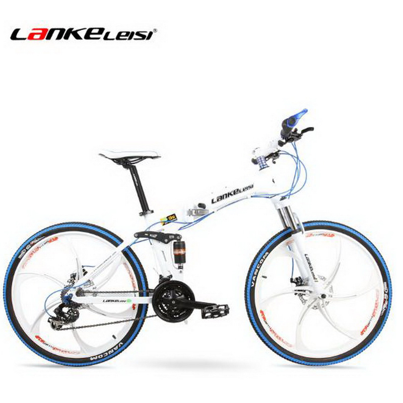 T250101/Bicycle 26-inch magnesium alloy one round two-disc brakes 24-speed folding mountain bike/Mechanical disc brake