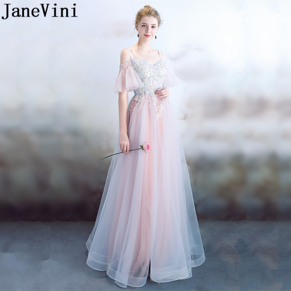 JaneVini 2018 Princess Peachy Wedding Party Dresses For Prom Graduation Gown Tulle Beaded Lace Long Bridesmaid Dresses Plus Size