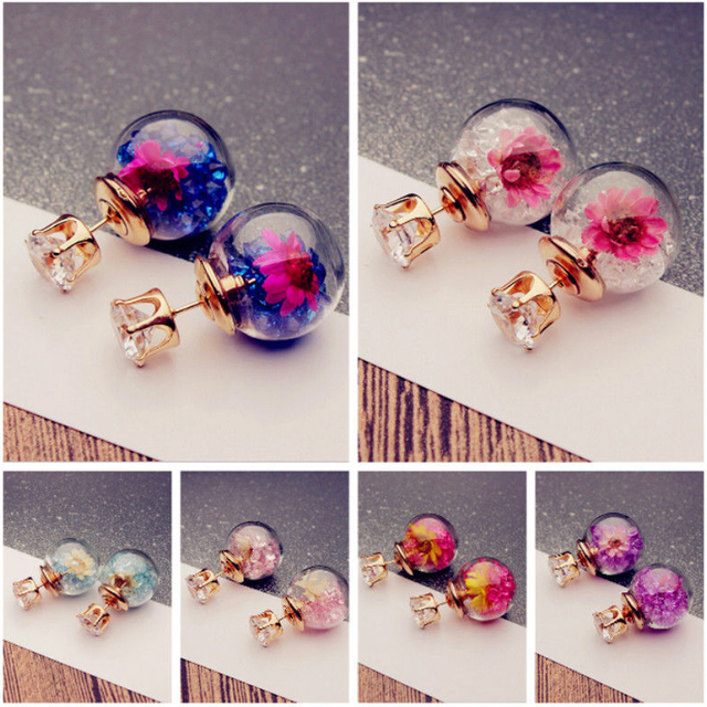 2017 Korean Fashion Women Lady Elegant Rose Glass Ball Flower Rhinestone Metal Stud Earrings For Women Jewelry Earring Set  3