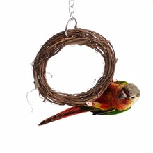 New Natural Rattan Hoop Toy Bird Pet Parrot Chew Bites Ring Toys Cage Climb Swing for Parrots Cockatoo Parakeet A/B/C/D Size C42