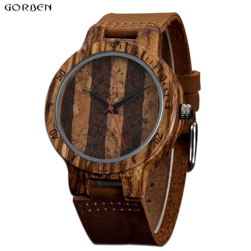Gorben 2017 New Arrival Wooden Mens Wristwatches Unique Design Genuine Leather Bamboo Wooden Watch For Men Women Christmas Gifts hand made mens wooden bamboo quartz watch black genuine leather watchband simple unique modern wristwatch gift for male female