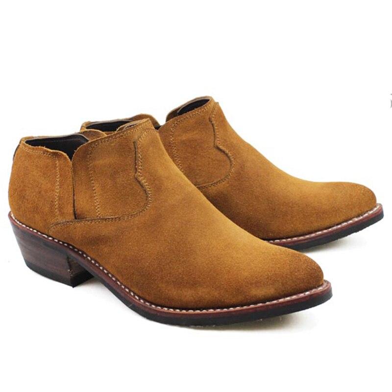 Zapatos de vaquero occidentales de cuero genuino de gamuza cosida a mano botas de montar de hombre Botas Martin botines de tobillo de hombre, gran 45 US11