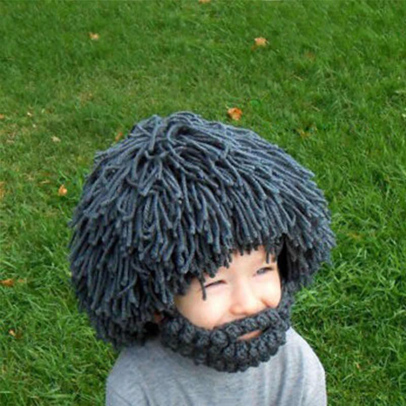 Забавная плюшевая мягкая игрушка большой парик борода шапка зимняя вязаная шапка ручной работы Теплая новинка игрушки для детей