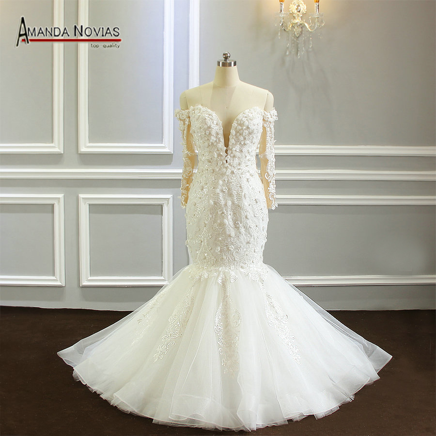 Off the shoulder long sleeves mermaid wedding dress with flowers 2019 new