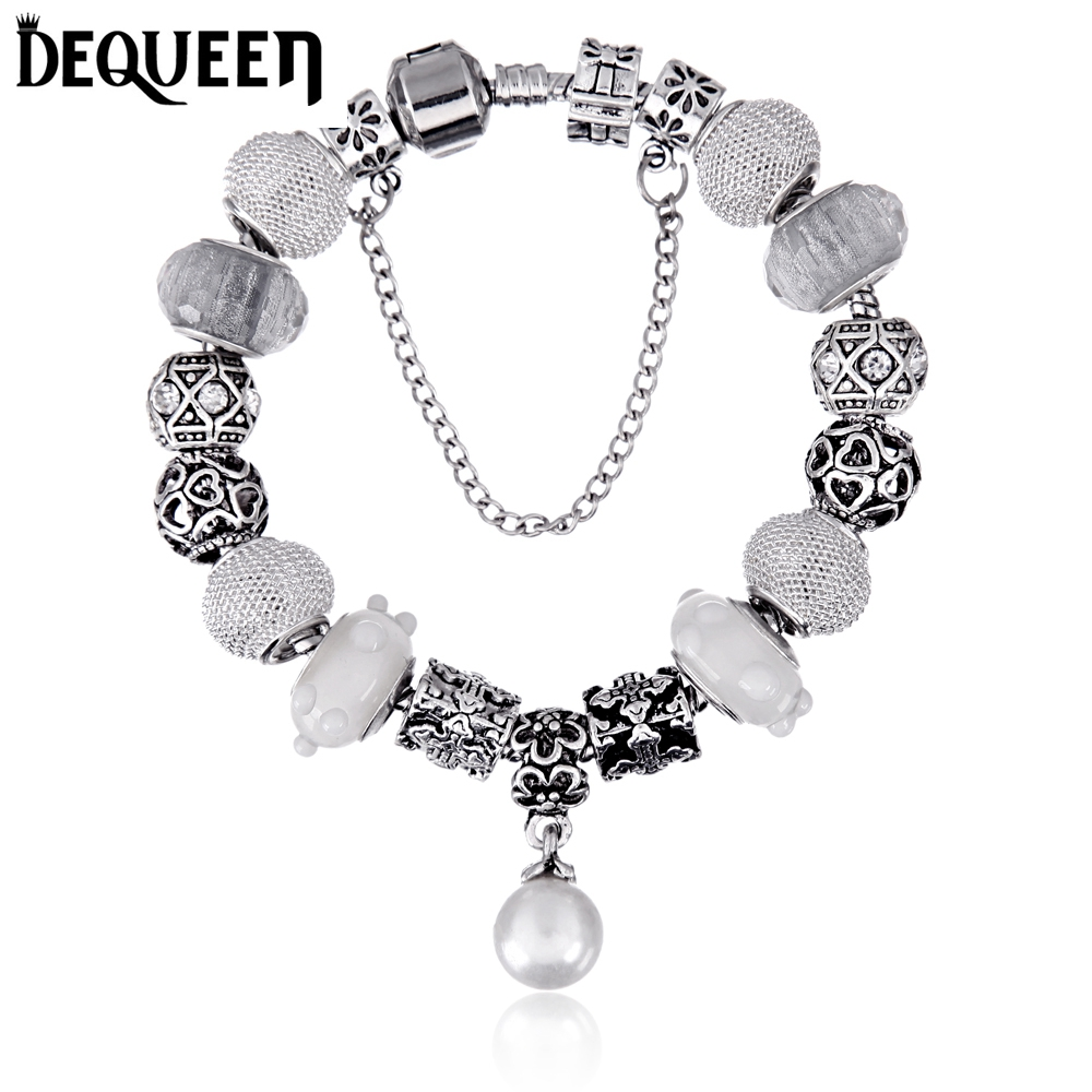 Dequeen (best Mom)charm Bracelet Purple Beads With Pearl Pendant Glass  Beads Snake Chain