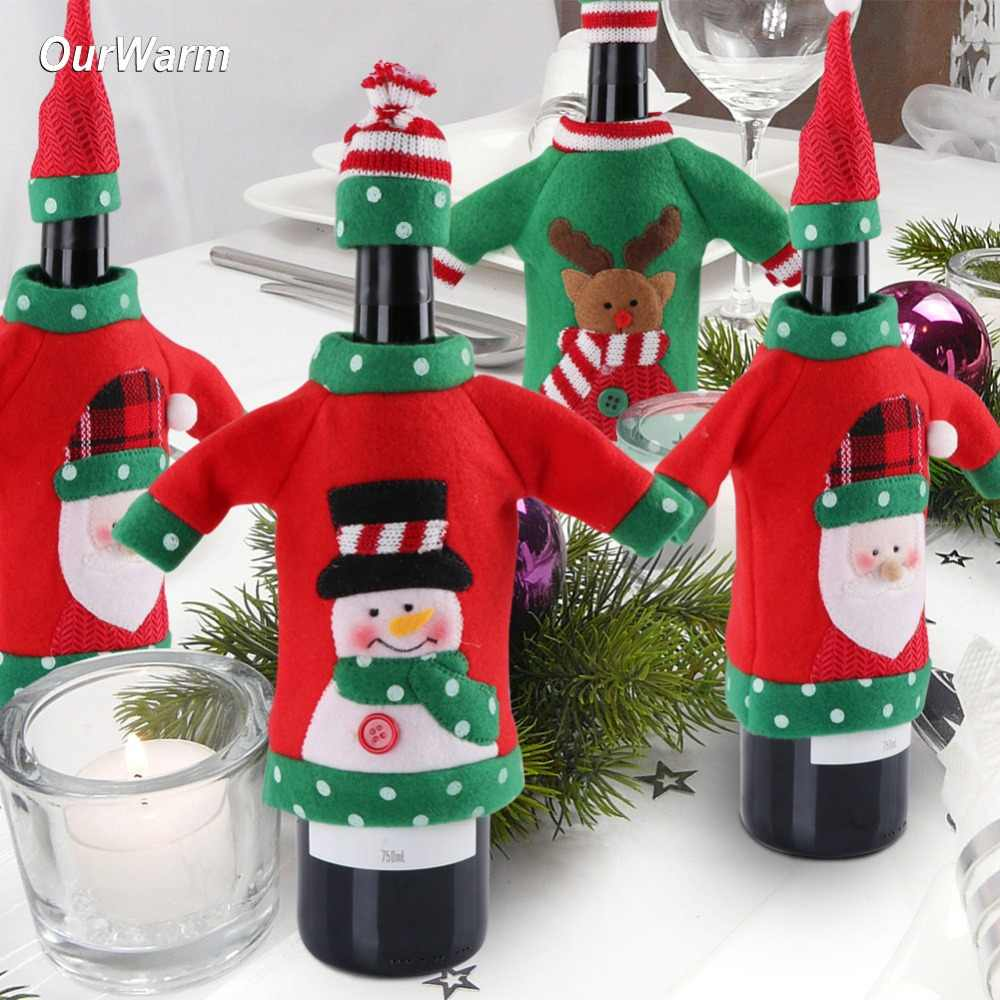 OurWarm 3pcs Ugly Sweater Gnome Christmas Wine Topper New Year s Bottle  Cover Bag Christmas Clothes bae7bf41a5cfc