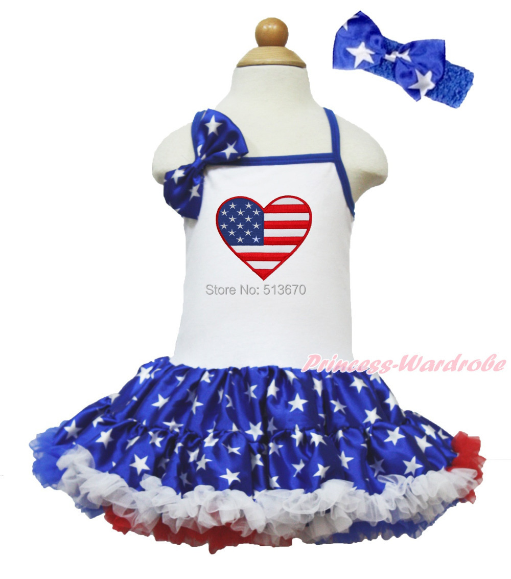4th July USA Flag Heart White Halter Patriotic Star Girl One Piece Dress 1-8Year MAHD048 4th july america flag style stripe pettiskirt white ruffle tank top 2pc set 1 8year mamg1143
