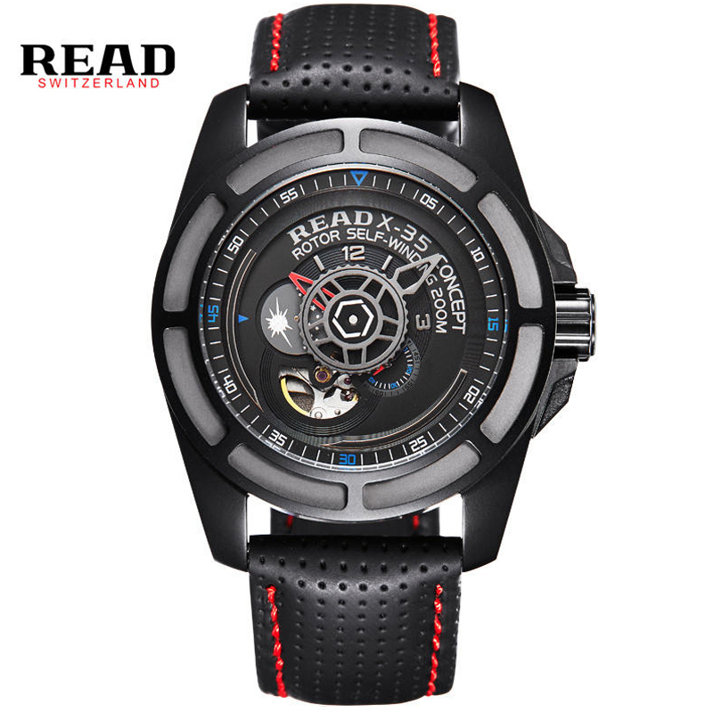 Relogio Masculino READ Automatic Mechanical Watches Mens Watch Top Brand Luxury Men Watch Leather Watchband Fashion Wristwatches top brand luxury men watch full automatic mechanical hollow watches men wristwatches hours clock mens watches relogio masculino