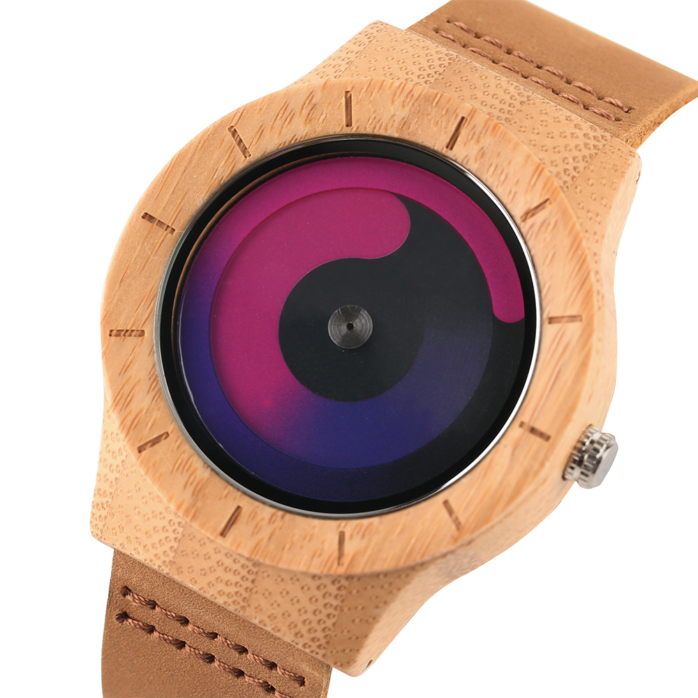 Blue Turntable Men's Bamboo Wooden Wrist Watch Women Unisex Quartz Novel Wood Clock Genuine Leather Band Strap Watch Gift simple brown bamboo full wooden adjustable band strap analog wrist watch bangle minimalist new arrival hot women men nature wood