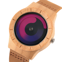 Blue Turntable Men's Bamboo Wooden Wrist Watch Women Unisex Quartz Novel Wood Clock Genuine Leather Band Strap Watch Gift fresh green beige nylon dial women s novel bamboo analog watch minimalism wood female genuine leather clock reloj de madera 2017