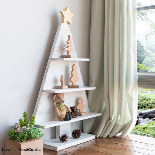 free stand shabby white handmade solid wood christmas tree shelf