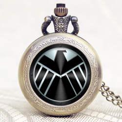 Черный щит дизайн кварцевые Карманный кулон часы с цепочкой цепочки и ожерелья Рождественский подарок Relogio де Bolso