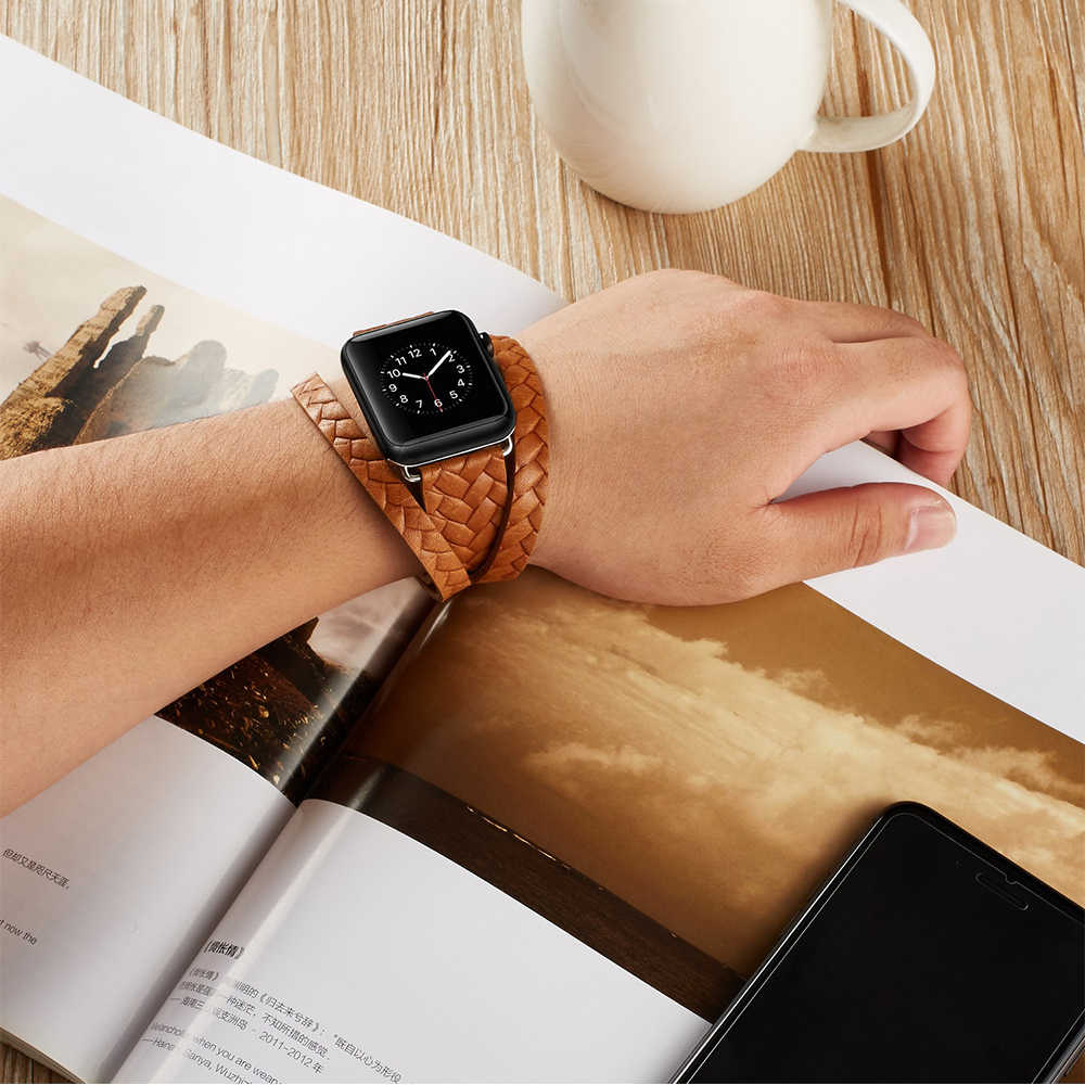 Analog Woven braids Double Loop Punk Genuine Leather band For Apple Watch 38mm 40mm 42mm 44mm Series 2 3 4 Watchband Bracelet