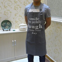 FUYA Plain Letter Stamp Canvas Kitchen Apron Waiter Aprons With Pockets Restaurant Home Cooking Tool Shop Art Work Apron