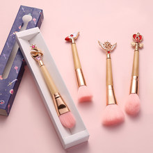 Hot! 4 Style Makeup Brushes Bamboo Make Up Brush Soft Synthetic Hair Collection Pink Powder Blush Brushes with Random Color BOX(China)