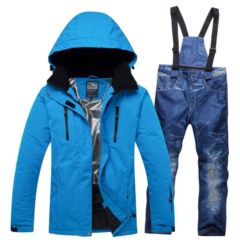 Professional Men Ski Suits Snow Outfit for Men s Hooded Snowsuit Jackets and Bib Pants Set