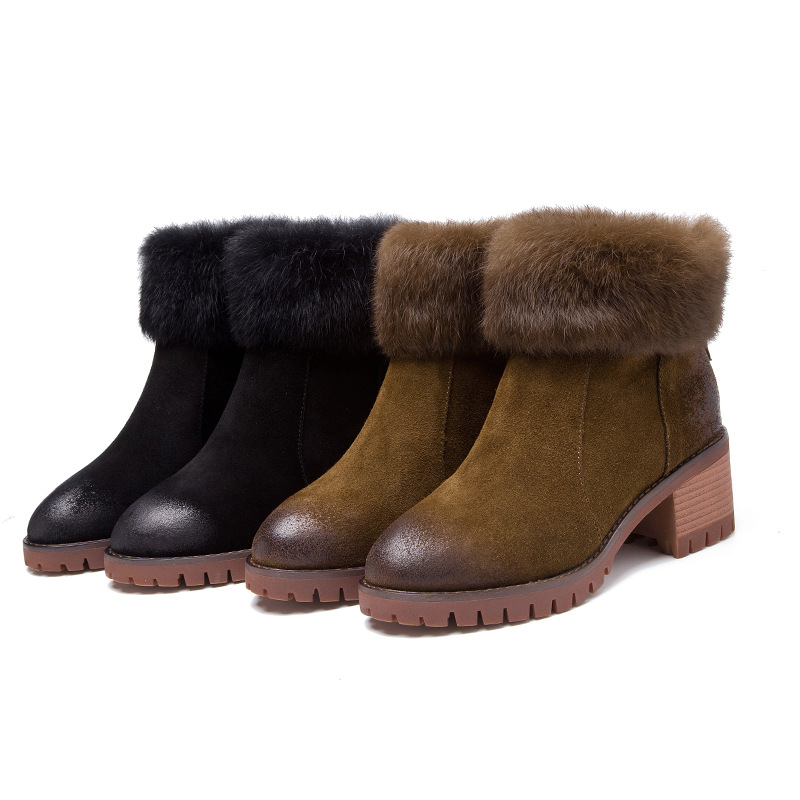 2017 New Fashion Black Cow Leather Ankle Women Boots Casual Short Women Snow Boots Winter Ankle Shoes Elegant Chelsea Boots