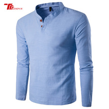 Summer Casual Men Linen Shirt Long Sleeve Stand Collar Leisure Solid two buckle cotton and linen Shirts Top Tee