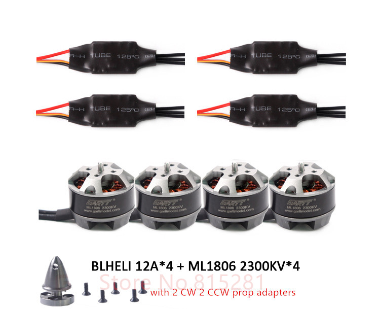 GARTT 4x ML 1806 2300kv Brushless Motor with prop adapter+ 4x 12A BLHELI ESC For FPV QAV 150 180 210 250 Quadcopter Drone lhi fpv 4x mt2206 2300kv cw ccw fpv brushless motor 2 4s 4 pcs racerstar rs20a lite 20a blheli s bb1 2 4s brushless esc