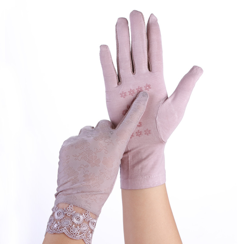 Lady Lace Sunscreen Gloves Spring Summer Women Stretch Thin Breathable Glove Touch Screen Anti Uv Slip Resistant Driving Gloves