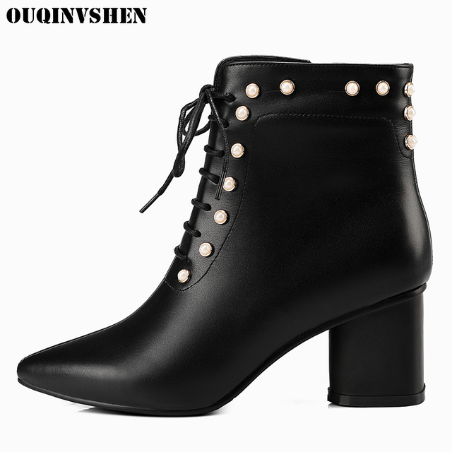 OUQINVSHEN Pointed Toe Square heel High Heels Women Boots Casual Fashion Crystal Ankle Boots Cross-tied Zipper Women's Boots