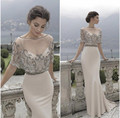 New Vestido de festa longo 2016 Elegant Sweetheart Mermaid Two Piece Evening Dresses Long Beaded Sheer Prom Gown Formal Dresses