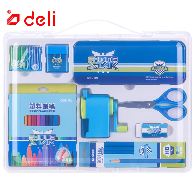 Deli 1Set=8PCS Student Learning Stationery Pencil Pen/Scissors Children Gift Educational Christmas Gifts Kids Stationary Set deli 18 in 1 color pencil set