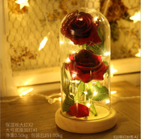 Festival Souvenir Gifts Artificial Rose Lovely Valentine Souvenir Gifts Immortal Rose In Led Shinning Glass for Home Decor