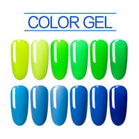 Green Series Gel Nails Polish Colorful 7.3 ml 12 Colors Soak Off LED Or UV Gel Pure Blue Nail Primer Color Gel Lacquer Varnishes