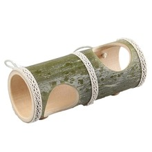 Hamster Playground Natural Bamboo Pet Play Straight Through Tunnel with Two Holes Toy Rabbit Hamster Accessories