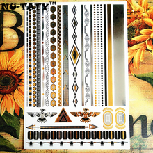 NU-TATY 24 Style Temporary Tattoo Body Art, Chain Collection Gold Designs, Flash Tattoo Sticker Keep 3-5 Days Waterproof 21x15cm