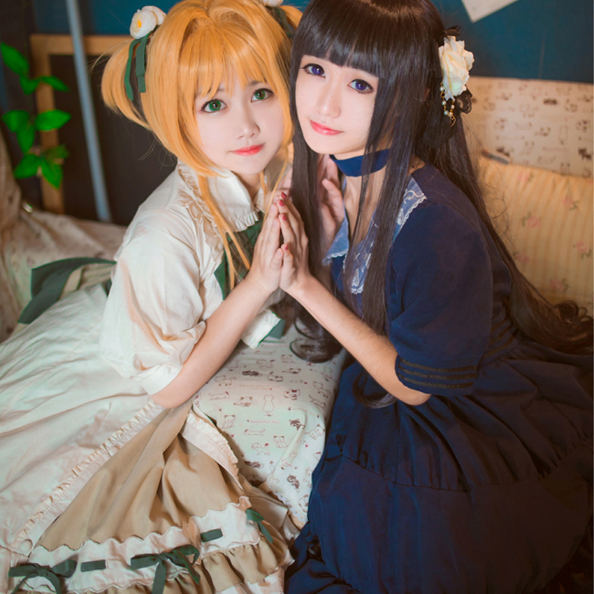 Japonais Anime carte Captor Sakura Lolita robe Sakura & Tomoyo fête Cosplay Costume Kawaii arc volants broderie femmes robes - 3