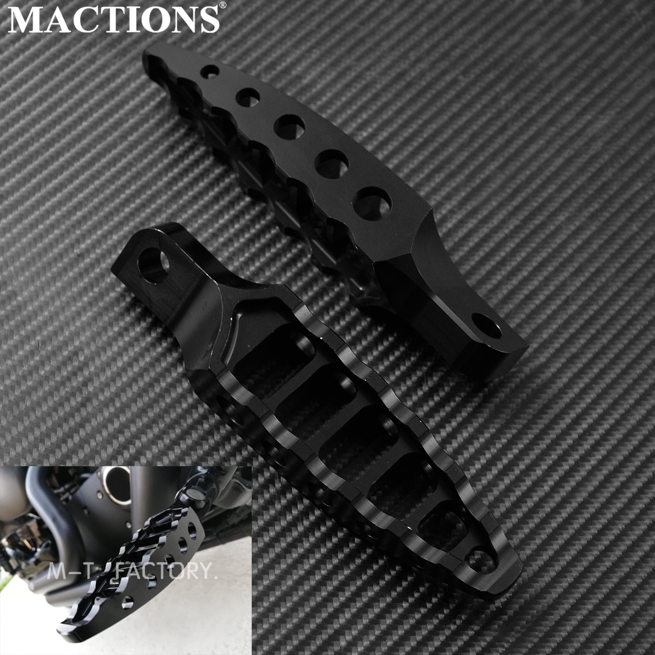 Wide Foot Pegs MX Style 360 Roating CNC Fat Footrest Chopper Bobber For Dyna Sportster Iron 883 Fatboy Wide Glide Low Rider FXDL Black