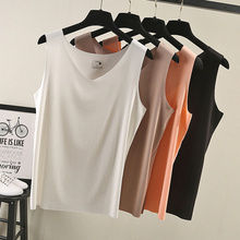 womens top Lady Cotton tank V-neck woman tshirt  all match Basic vest black gray white color bts