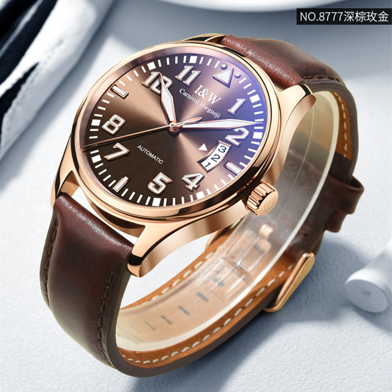 Carnival I&W Mens Automatic Mechanical Watches Top Brand Luxury Fashion Leather Strap Watch Men Waterproof Male Clock relogio carnival fashion mens automatic mechanical watches top brand luxury casual leather strap watch men calendar male clock kol saati