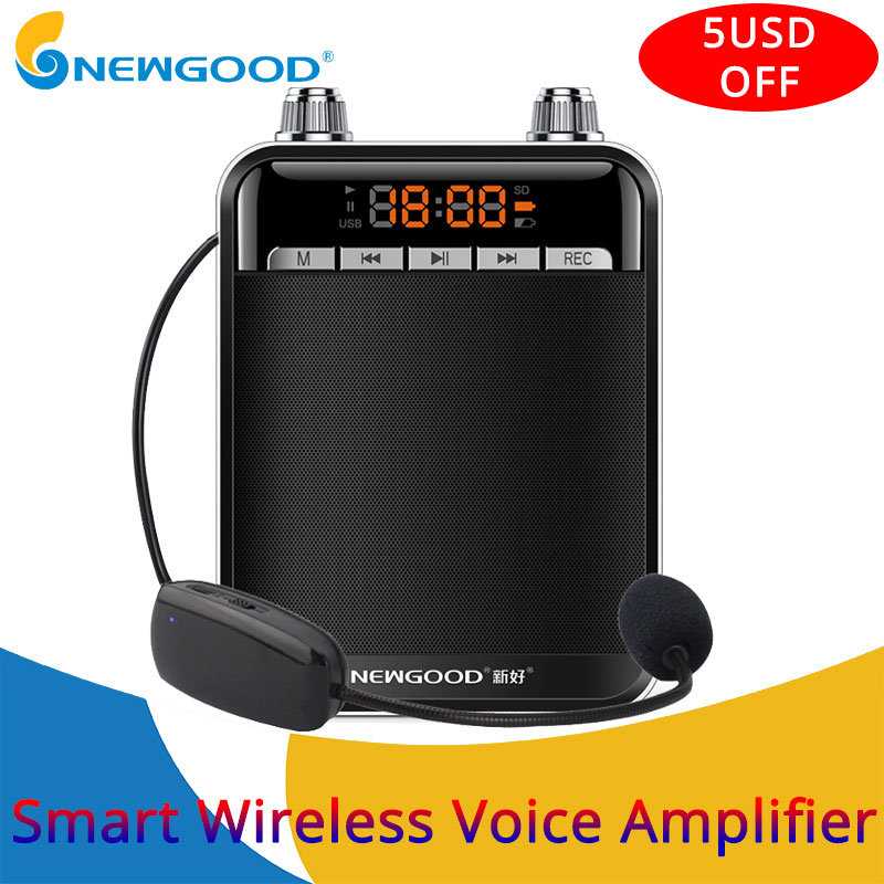 Portable Smart Wireless Voice Amplifier for Teachers Megaphone Booster Amplifier speakers UHF wireless microphone FM radio купить в Москве 2019