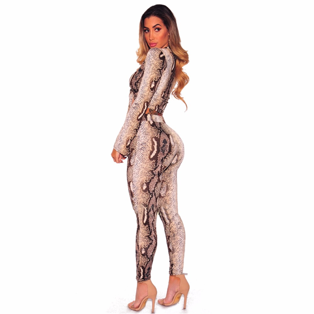 cab844a7f2f Two Piece Snake Skin Print Jumpsuit Romper Autumn Women e Deep V Neck Long  Pants Bodycon Jumpsuit Casual Slim Party Overalls-in Jumpsuits from Women s  ...
