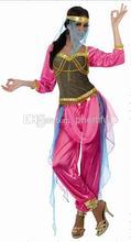 Atacado-2016 Hot sale Novo Estilo de Festa de Carnaval Cosplay Traje trajes de dança indiana Roupas de malha para Mulheres Rosa cor