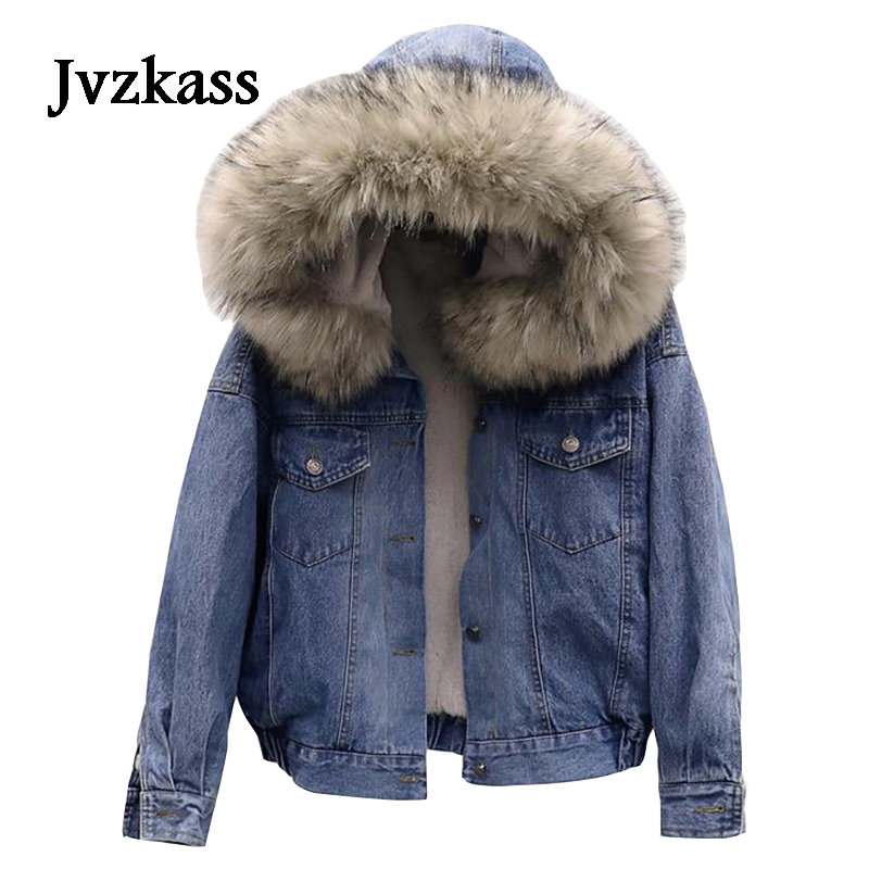 Jvzkass 2019 new big fur collar lamb coat women short cotton jacket hooded plus velvet thick denim clothing loose winter Z110